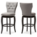 Baxton Studio Leonice Modern and Contemporary Grey Fabric Upholstered Button-tufted 29-Inch Swivel Bar Stool - IEBBT5222-Grey (set of 2)