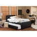 Baxton Studio Cosmo Modern and Contemporary Black Faux Leather Twin Size Trundle Bed - IEBBT6469-Twin-Black
