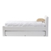 Baxton Studio Cosmo Modern and Contemporary White Faux Leather Twin Size Trundle Bed - IEBBT6469-Twin-White
