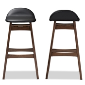 Baxton Studio Bloom Mid-century Retro Modern Scandinavian Style Black Faux Leather Upholstered Walnut Wood Finishing 30-Inches Bar Stool Baxton Studio restaurant furniture, hotel furniture, commercial furniture, wholesale bar furniture, wholesale bar stools, classic bar stools