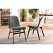 Baxton Studio Embrace Mid-century Retro Modern Scandinavian Style Dark Grey Fabric Upholstered Walnut Wood Finishing Dining Chair - IEEmbrace Dining Chair (set of 2)