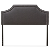 Baxton Studio Avignon Modern and Contemporary Dark Grey Fabric Upholstered Queen Size Headboard Baxton Studio restaurant furniture, hotel furniture, commercial furniture, wholesale bedroom furniture, wholesale headboards, classic queen size headboards