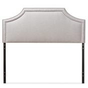 Baxton Studio Avignon Modern and Contemporary Greyish Beige Fabric Upholstered Queen Size Headboard Baxton Studio restaurant furniture, hotel furniture, commercial furniture, wholesale bedroom furniture, wholesale headboards, classic queen size headboards
