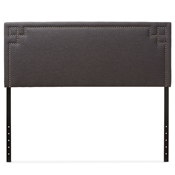 Baxton Studio Geneva Modern and Contemporary Dark Grey Fabric Upholstered Queen Size Headboard Baxton Studio restaurant furniture, hotel furniture, commercial furniture, wholesale bedroom furniture, wholesale headboards, classic queen size headboards