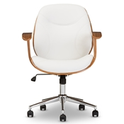 Baxton Studio Rathburn Modern and Contemporary White and Walnut Office Chair Baxton Studio restaurant furniture, hotel furniture, commercial furniture, wholesale home office furniture, wholesale office chairs, classic task chairs