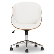 Baxton Studio Bruce Modern and Contemporary White and Walnut Office Chair Baxton Studio restaurant furniture, hotel furniture, commercial furniture, wholesale home office furniture, wholesale office chairs, classic task chairs