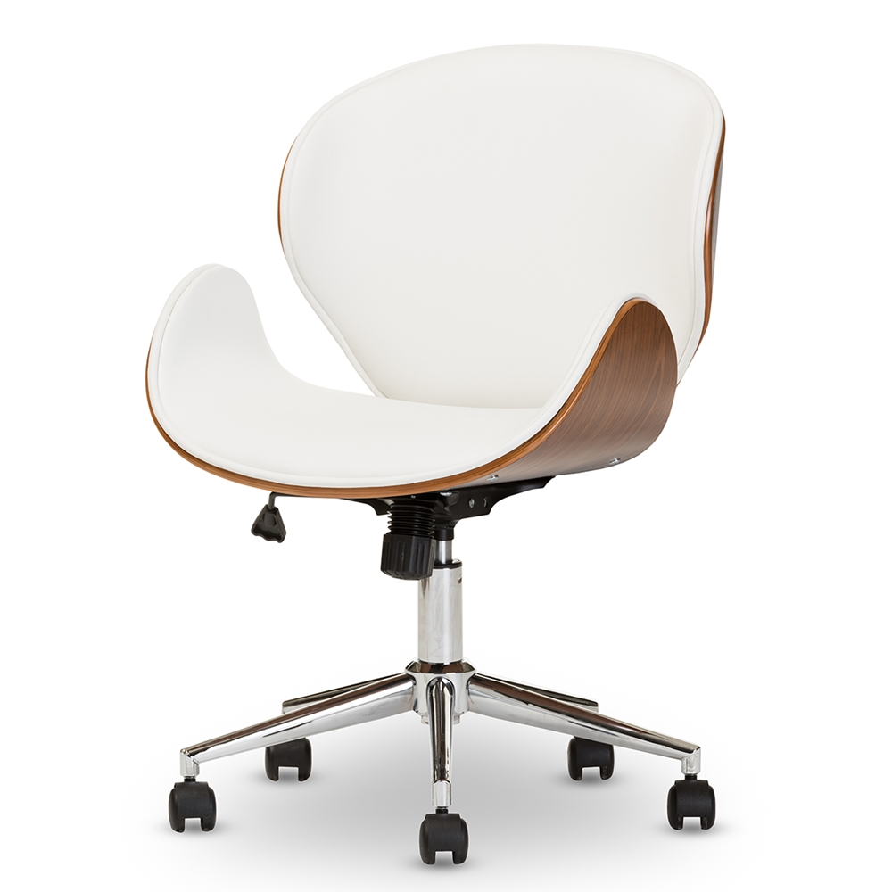 Baxton Studio Bruce Modern And Contemporary White And Walnut Office Chair Interior Express