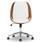 Baxton Studio Watson Modern and Contemporary White and Walnut Office Chair Baxton Studio restaurant furniture, hotel furniture, commercial furniture, wholesale home office furniture, wholesale office chairs, classic task chairs