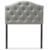 Baxton Studio Myra Modern and Contemporary Grey Fabric Upholstered Button-Tufted Scalloped Twin Size Headboard Baxton Studio restaurant furniture, hotel furniture, commercial furniture, wholesale bedroom furniture, wholesale headboards, classic twin size headboards