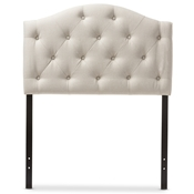 Baxton Studio Myra Modern and Contemporary Light Beige Fabric Upholstered Button-Tufted Scalloped Twin Size Headboard Baxton Studio restaurant furniture, hotel furniture, commercial furniture, wholesale bedroom furniture, wholesale headboards, classic twin size headboards