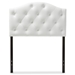 Baxton Studio Myra Modern and Contemporary White Faux Leather Upholstered Button-Tufted Scalloped Twin Size Headboard