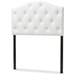 Baxton Studio Myra Modern and Contemporary White Faux Leather Upholstered Button-Tufted Scalloped Twin Size Headboard - IEBBT6505-White-Twin HB