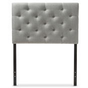 Baxton Studio Viviana Modern and Contemporary Grey Fabric Upholstered Button-Tufted Twin Size Headboard Baxton Studio restaurant furniture, hotel furniture, commercial furniture, wholesale bedroom furniture, wholesale headboards, classic twin size headboards