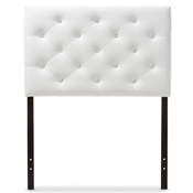 Baxton Studio Viviana Modern and Contemporary White Faux Leather Upholstered Button-Tufted Twin Size Headboard Baxton Studio restaurant furniture, hotel furniture, commercial furniture, wholesale bedroom furniture, wholesale headboards, classic twin size headboards