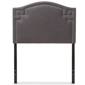 Baxton Studio Aubrey Modern and Contemporary Dark Grey Fabric Upholstered Twin Size Headboard Baxton Studio restaurant furniture, hotel furniture, commercial furniture, wholesale bedroom furniture, wholesale headboards, classic twin size headboards