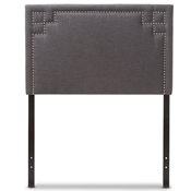 Baxton Studio Geneva Modern and Contemporary Dark Grey Fabric Upholstered Twin Size Headboard Baxton Studio restaurant furniture, hotel furniture, commercial furniture, wholesale bedroom furniture, wholesale headboards, classic twin size headboards