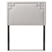 Baxton Studio Geneva Modern and Contemporary Greyish Beige Fabric Upholstered Twin Size Headboard Baxton Studio restaurant furniture, hotel furniture, commercial furniture, wholesale bedroom furniture, wholesale headboards, classic twin size headboards