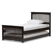 Baxton Studio Hevea Twin Size Dark Brown Solid Wood Platform Bed with Guest Trundle Bed Baxton Studio restaurant furniture, hotel furniture, commercial furniture, wholesale bedroom furniture, wholesale beds, classic twin size bed