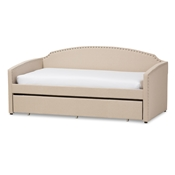 Baxton Studio Lanny Modern and Contemporary Beige Linen Fabric Nail Heads Trimmed Arched Back Sofa Twin Daybed with Roll-Out Trundle Guest Bed Baxton Studio restaurant furniture, hotel furniture, commercial furniture, wholesale bedroom furniture, wholesale beds, classic twin size bed