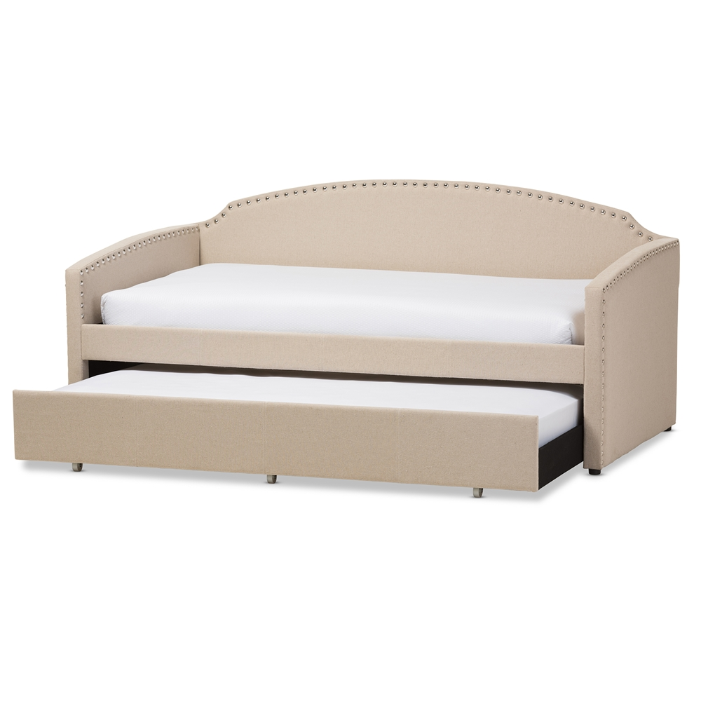 a996b115cc1 Baxton Studio Lanny Modern And Contemporary Beige Linen Fabric Nail. Main  Image Furniture Linley Upholstered Twin Daybed With Roll Out ...