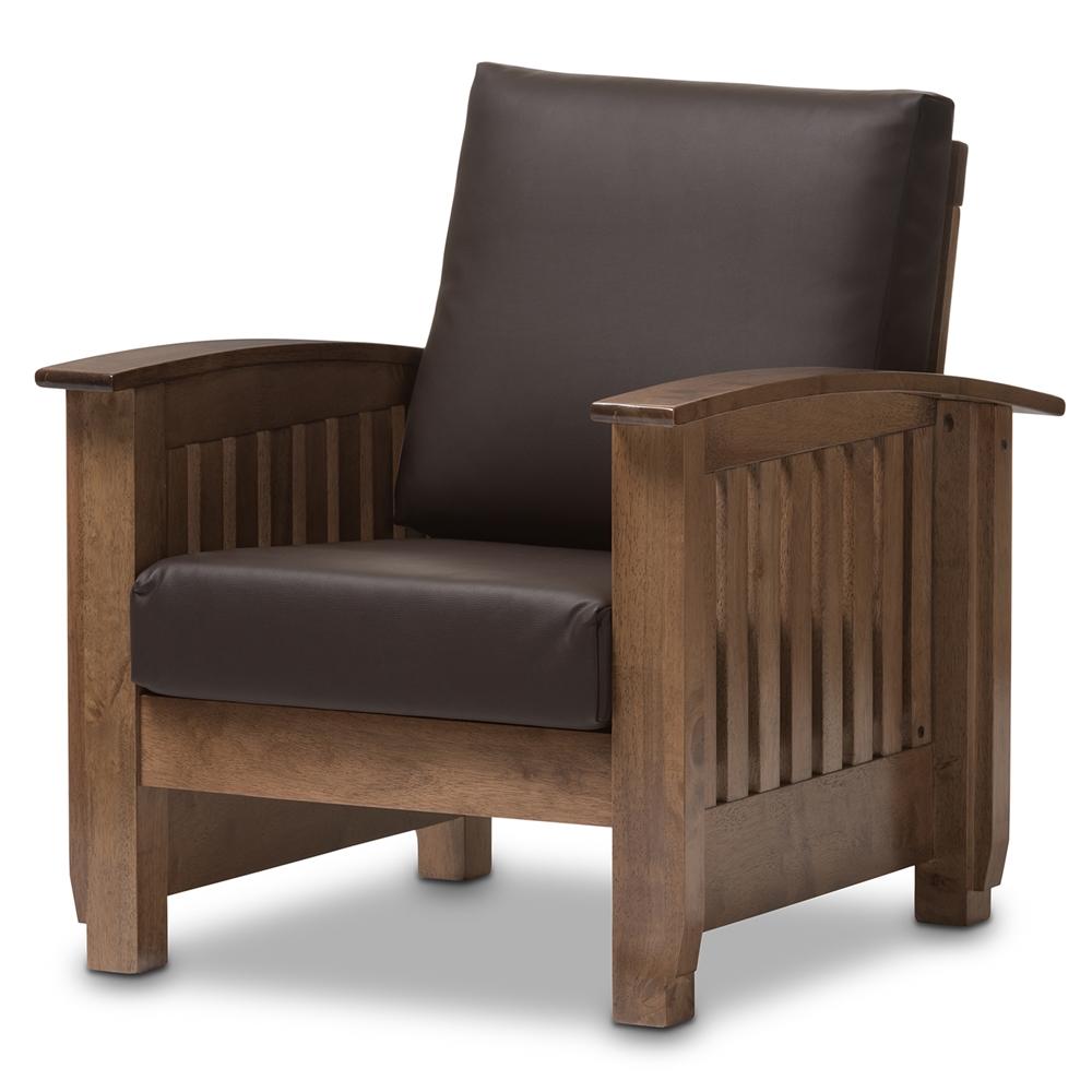 Baxton Studio Charlotte Modern Clic Mission Style Walnut Brown Wood And Dark Faux Leather 1