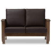Baxton Studio Charlotte Modern Classic Mission Style Walnut Brown Wood and Dark Brown Faux Leather 2-Seater Loveseat Baxton Studio restaurant furniture, hotel furniture, commercial furniture, wholesale living room furniture, wholesale sofas & loveseats, classic loveseats,