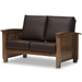 Baxton Studio Charlotte Modern Classic Mission Style Walnut Brown Wood and Dark Brown Faux Leather 2-Seater Loveseat - IESW3513-Dark Brown/Walnut-M17-LS