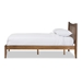 Baxton Studio Edeline Mid-Century Modern Solid Walnut Wood Curvaceous Slatted King Size Platform Bed - IESW8015-Walnut-M17-King
