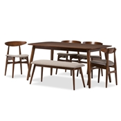 "Baxton Studio Flora Mid-Century Modern Light Grey Fabric and ""Oak"" Medium Brown Finishing Wood 6-Piece Dining Set Baxton Studio restaurant furniture, hotel furniture, commercial furniture, wholesale dining room furniture, wholesale dining sets, classic 6-piece sets"