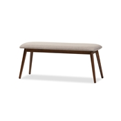 "Baxton Studio Flora Mid-Century Modern Light Grey Fabric and ""Oak"" Medium Brown Finishing Wood Dining Bench"