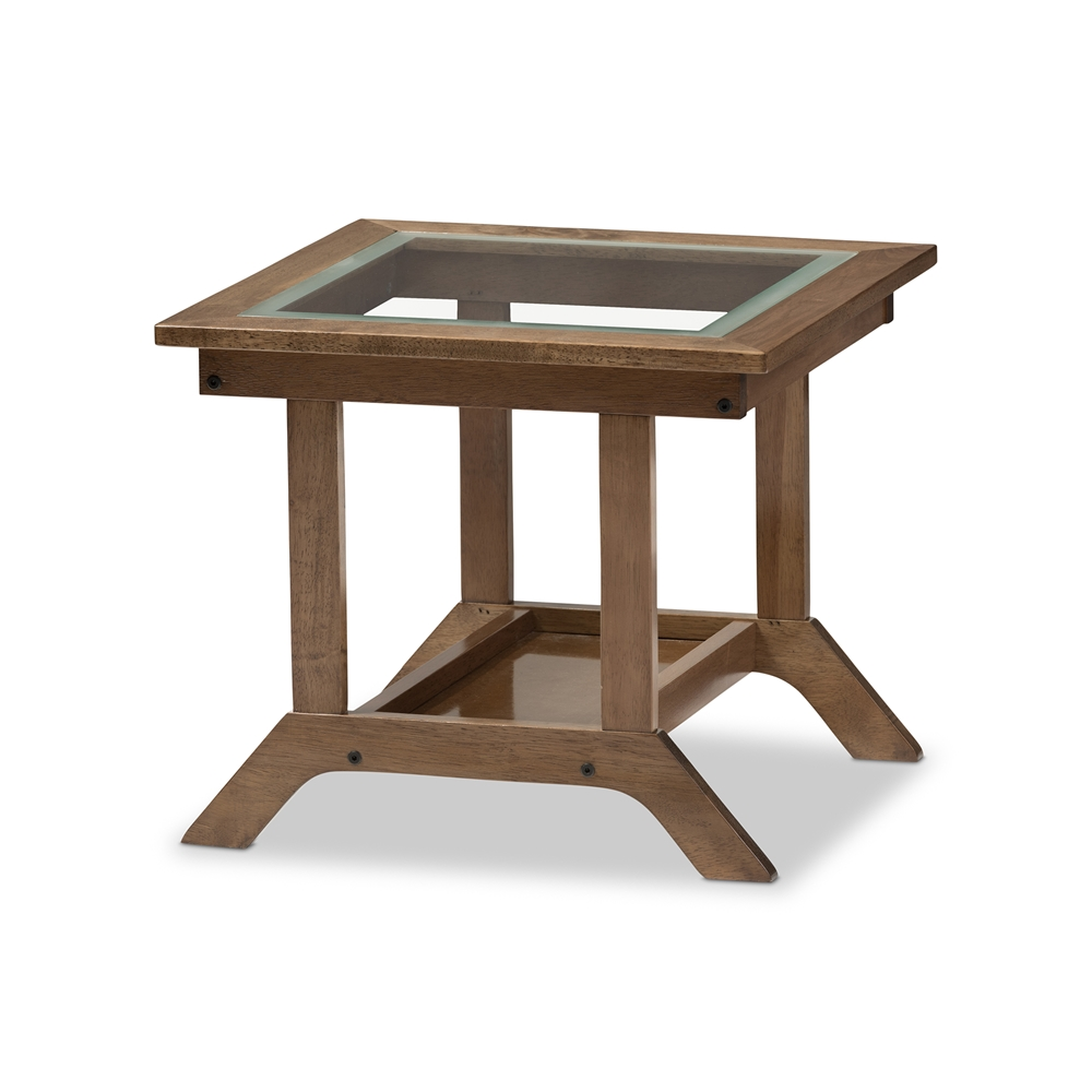 Baxton studio cayla mid century modern walnut brown wood for Modern side tables for living room