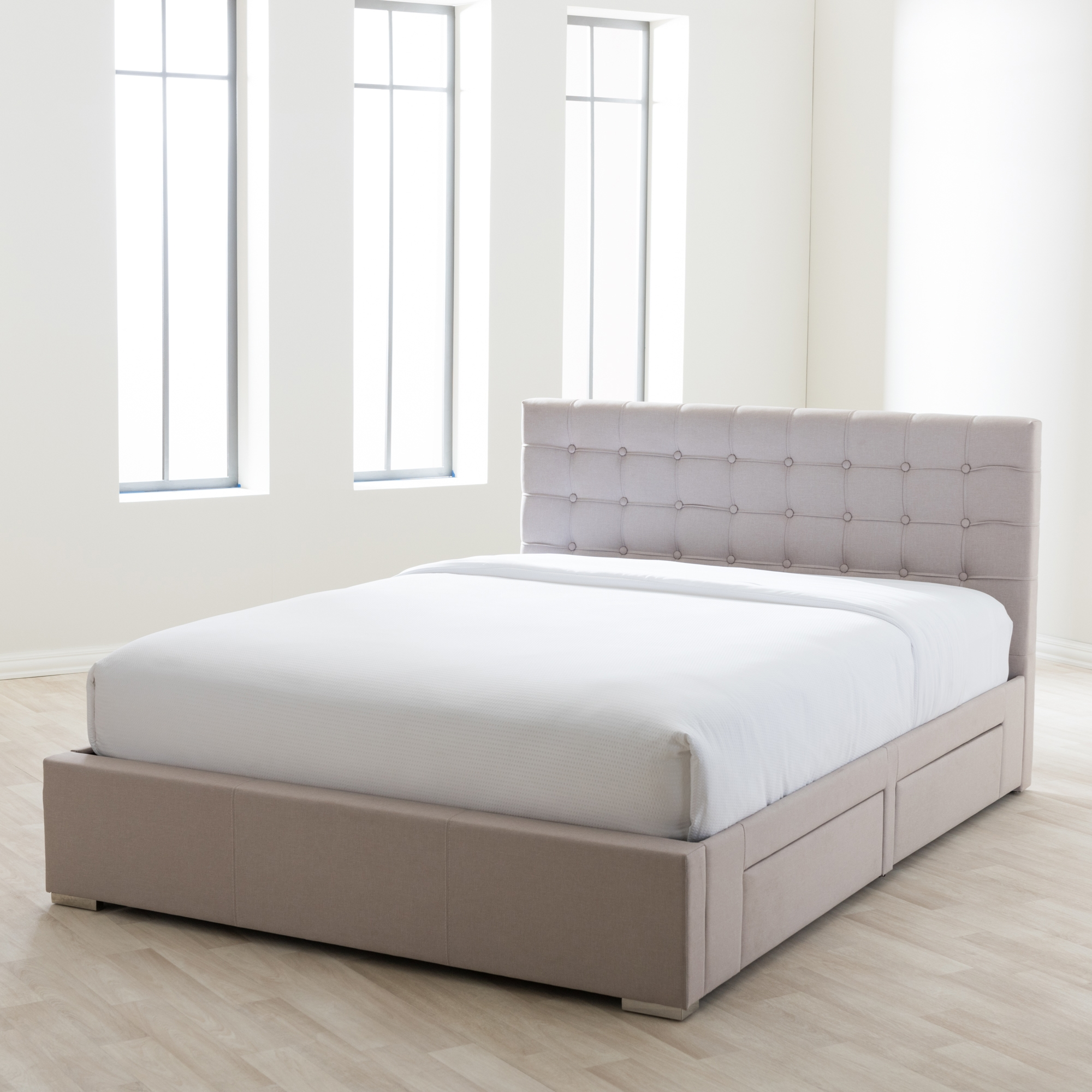 modern storage beds baxton studio rene modern and contemporary beige fabric 4 12627