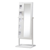 Baxton Studio Vittoria White Finish Wood Square Foot Floor Standing Double Door Storage Jewelry Armoire Cabinet Baxton Studio restaurant furniture, hotel furniture, commercial furniture, wholesale living room furniture, wholesale shoe racks, classic shoe racks