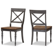 "Baxton Studio Rosalind Shabby Chic Country Cottage Weathered Dove Grey and ""Oak"" Brown Finishing Solid Wood X-back Dining Side Chair Baxton Studio restaurant furniture, hotel furniture, commercial furniture, wholesale dining room furniture, wholesale chairs, classic dining chairs"