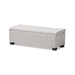 Baxton Studio Roanoke Modern and Contemporary Grayish Beige Fabric Upholstered Grid-Tufting Storage Ottoman Bench