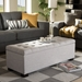 Baxton Studio Roanoke Modern and Contemporary Grayish Beige Fabric Upholstered Grid-Tufting Storage Ottoman Bench - IEBBT3101-OTTO-Greyish Beige-H1217-14