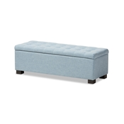 Baxton Studio Roanoke Modern and Contemporary Light Blue Fabric Upholstered Grid-Tufting Storage Ottoman Bench