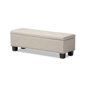 Baxton Studio Hannah Modern and Contemporary Beige Fabric Upholstered Button-Tufting Storage Ottoman Bench