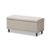 Baxton Studio Kaylee Modern Classic Beige Fabric Upholstered Button-Tufting Storage Ottoman Bench