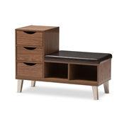 Baxton Studio Arielle Modern and Contemporary Walnut Brown Wood 3-Drawer Shoe Storage Padded Leatherette Seating Bench with Two Open Shelves Baxton Studio restaurant furniture, hotel furniture, commercial furniture, wholesale foyer furniture, wholesale shoe racks, classic shoe racks