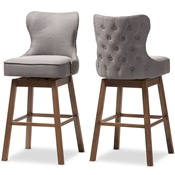Baxton Studio Gradisca Modern and Contemporary Brown Wood Finishing and Grey Fabric Button-Tufted Upholstered Swivel Barstool