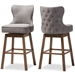 Baxton Studio Gradisca Modern and Contemporary Brown Wood Finishing and Grey Fabric Button-Tufted Upholstered Swivel Barstool - IEBBT5246B-BS-Grey-XD45 ( set of 2 )