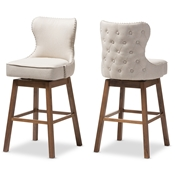 Baxton Studio Gradisca Modern and Contemporary Brown Wood Finishing and Light Beige Fabric Button-Tufted Upholstered Swivel Barstool