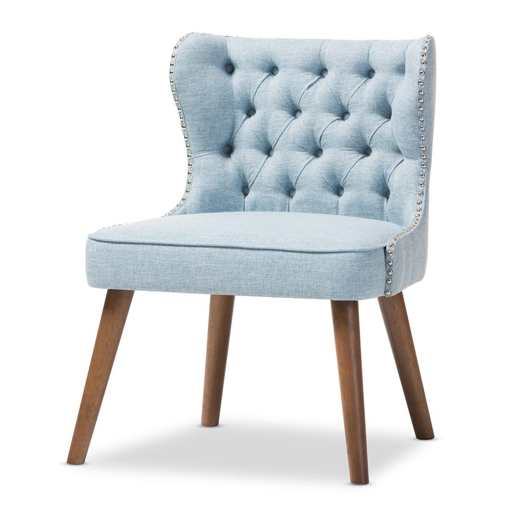 Baxton Studio Scarlett Mid Century Modern Brown Wood And Light Blue Fabric Upholstered On