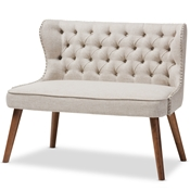 Baxton Studio Scarlett Mid-Century Modern Brown Wood and Light Beige Fabric Upholstered Button-Tufting with Nail Heads Trim 2-Seater Loveseat Settee Baxton Studio restaurant furniture, hotel furniture, commercial furniture, wholesale living room furniture, wholesale sofas & loveseats, classic Loveseats