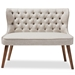 Baxton Studio Scarlett Mid-Century Modern Brown Wood and Light Beige Fabric Upholstered Button-Tufting with Nail Heads Trim 2-Seater Loveseat Settee - IEBBT8017-LS-Beige-H1217-3