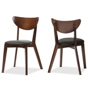 Baxton Studio Sumner Mid-Century Walnut Brown Dining Chair (Set of 2) Baxton Studio restaurant furniture, hotel furniture, commercial furniture, wholesale dining room furniture, wholesale chair, classic dining chair