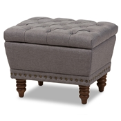 Baxton Studio Annabelle Modern and Contemporary Light Grey Fabric Upholstered Walnut Wood Finished Button-Tufted Storage Ottoman