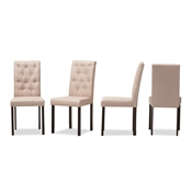 Baxton Studio Gardner Modern and Contemporary Dark Brown Finished Beige Fabric Upholstered Dining Chair Baxton Studio restaurant furniture, hotel furniture, commercial furniture, wholesale dining room furniture, wholesale dining chairs, classic fabric