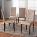 Baxton Studio Gardner Modern and Contemporary 5-Piece Dark Brown Finished Beige Fabric Upholstered Dining Set? - IEAndrew 5 PC Dining Set-10 Buttons-Beige Fabric